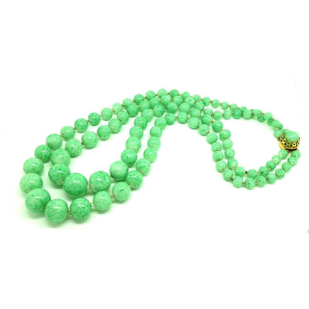 1950s Necklace Vintage 1950s Green Glass Beaded Necklace