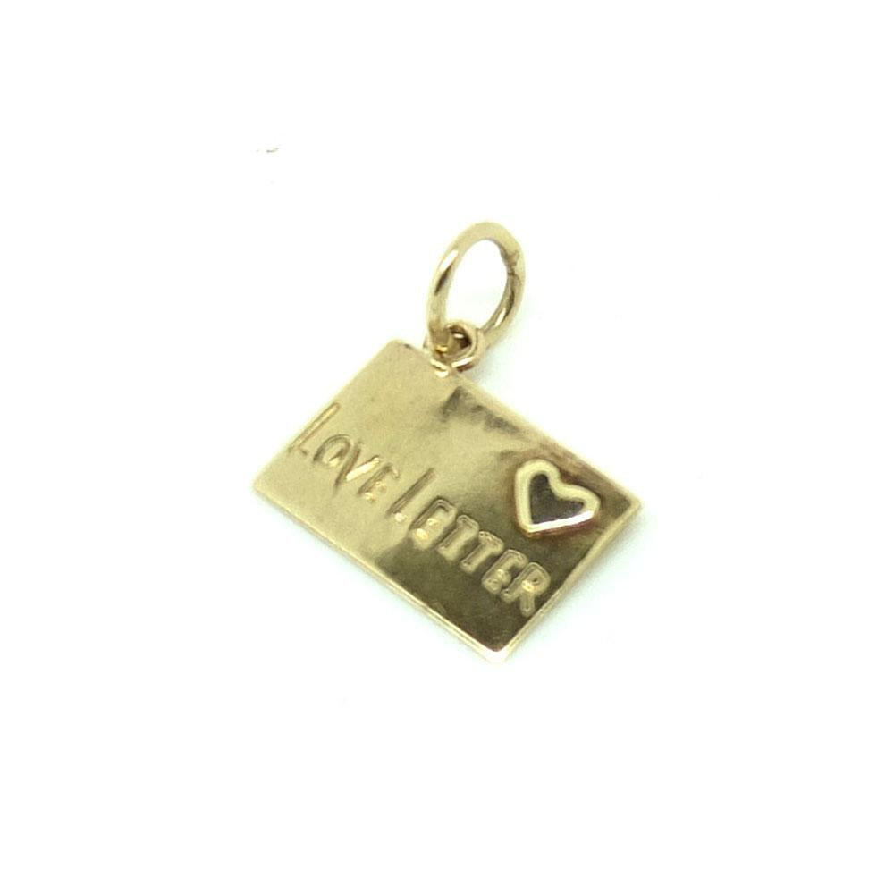 Vintage 1950s I Love You Letter 9ct Gold Charm Necklace