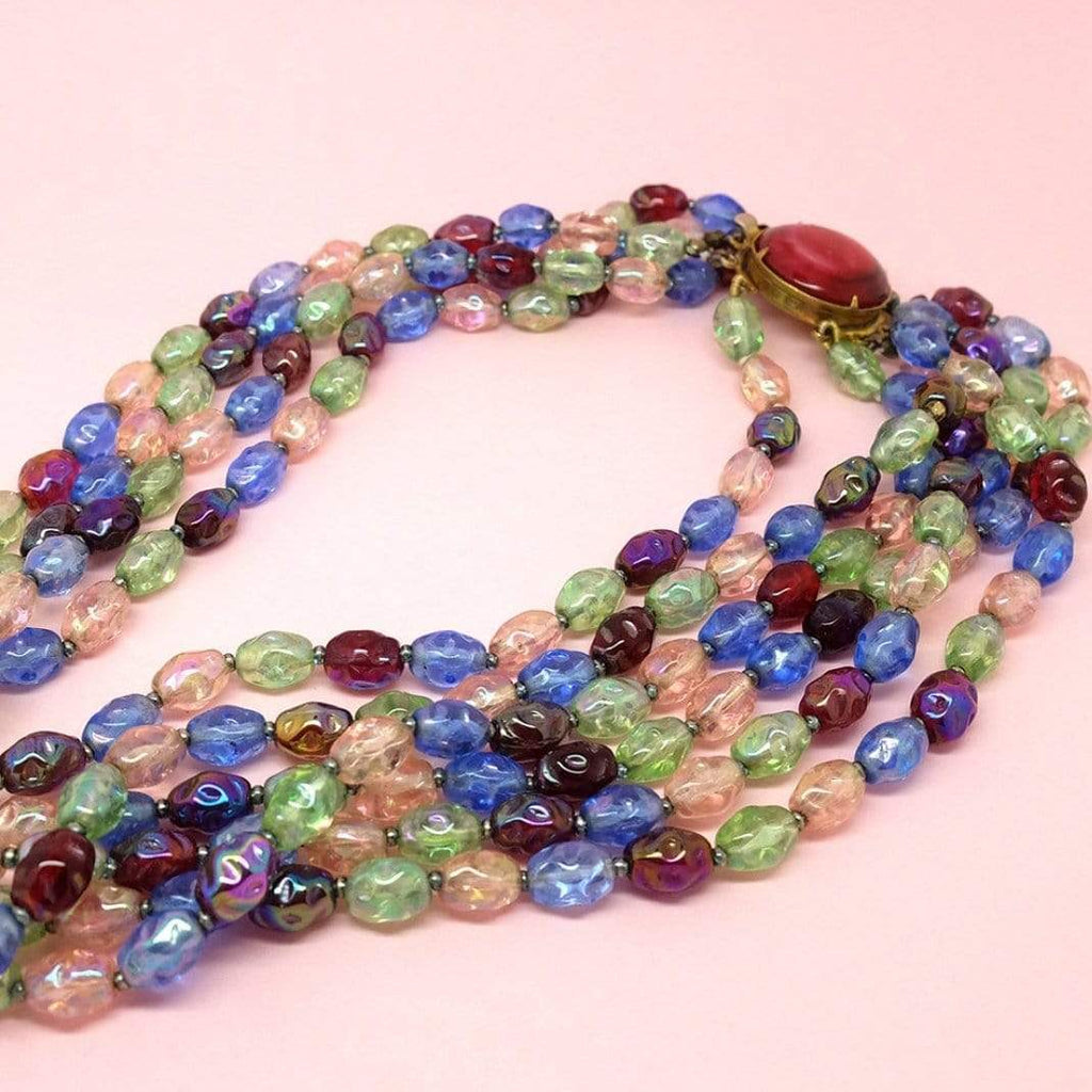 1950s Necklace Vintage 1950s Multicoloured Beaded Glass Choker Necklace