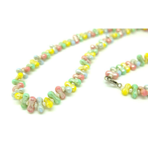 Vintage 1950s Pastel Beaded Necklace