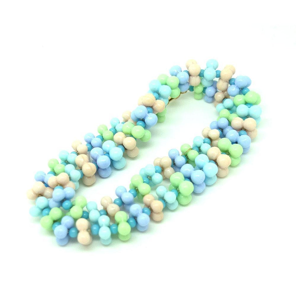 Vintage 1950s Pastel Glass Beaded Necklace