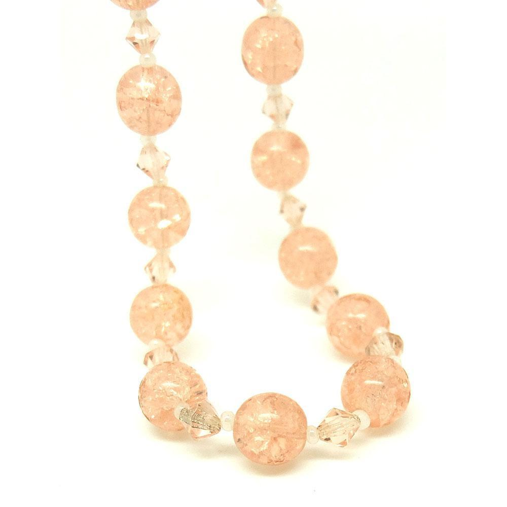 Vintage 1950s Pink Crackle Bead Necklace