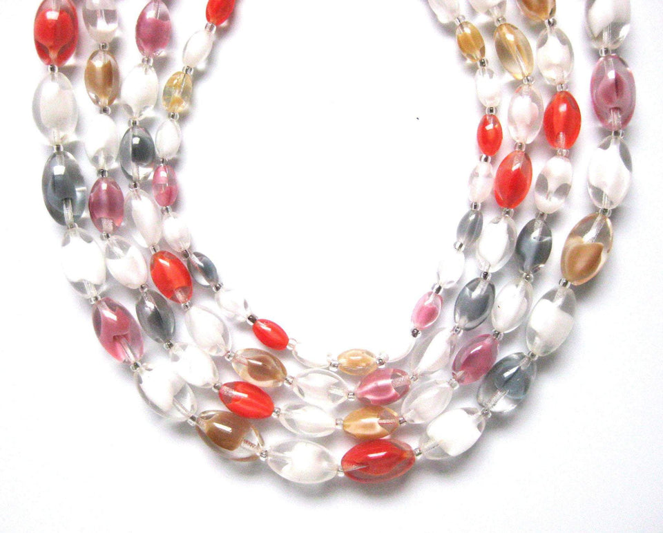 Vintage 1950s Quadruple Coloured Glass Necklace