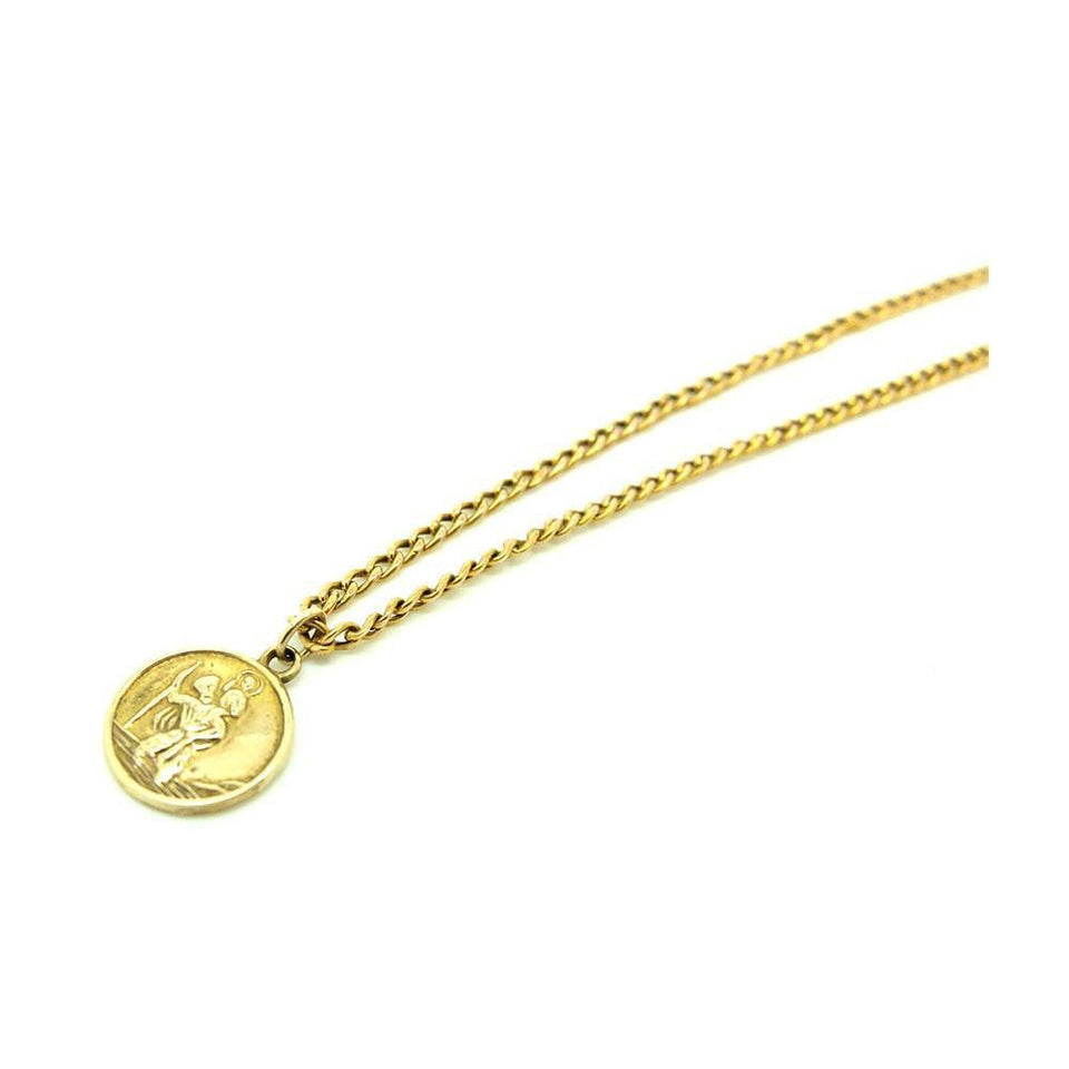 Vintage 1958 9ct Gold St Christopher Pendant Necklace