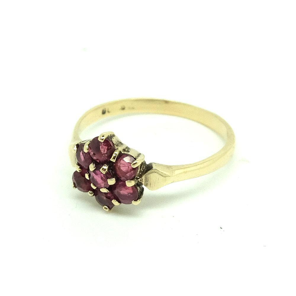 Vintage 1954 Ruby Flower 9ct Gold Ring