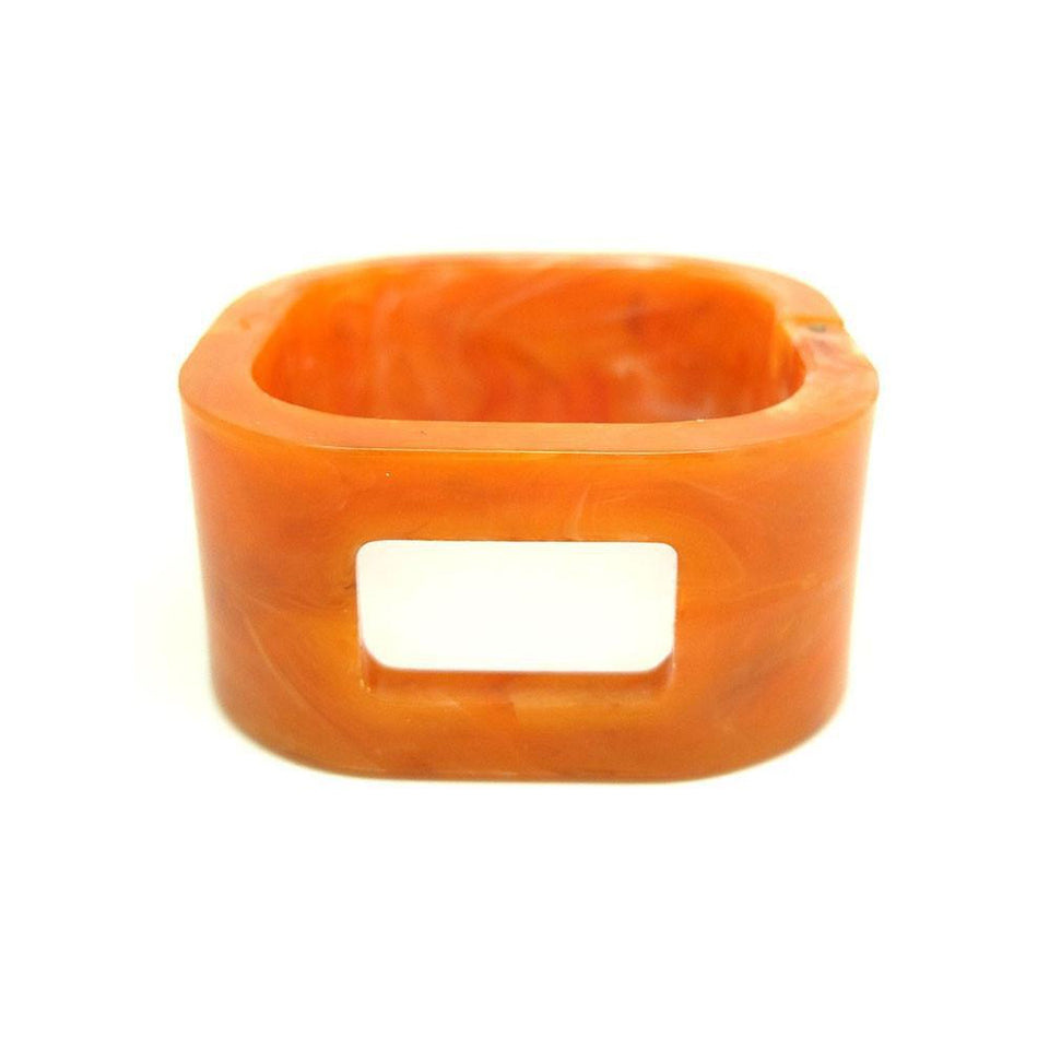 RESERVED - Vintage 1960s Plastic Orange Square Bangle Bracelet
