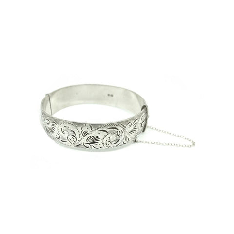 Vintage 1984 Sterling Silver Flower Bangle Bracelet
