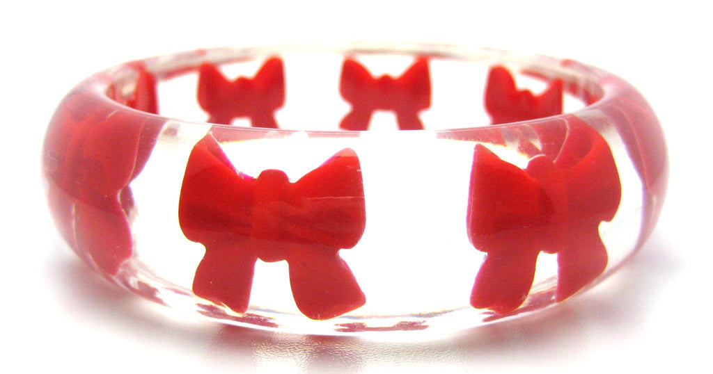 Vintage 1960s Lucite Bow Bangle Bracelet