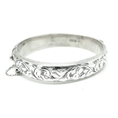 Vintage 1987 Leaf Sterling Silver Bangle Bracelet