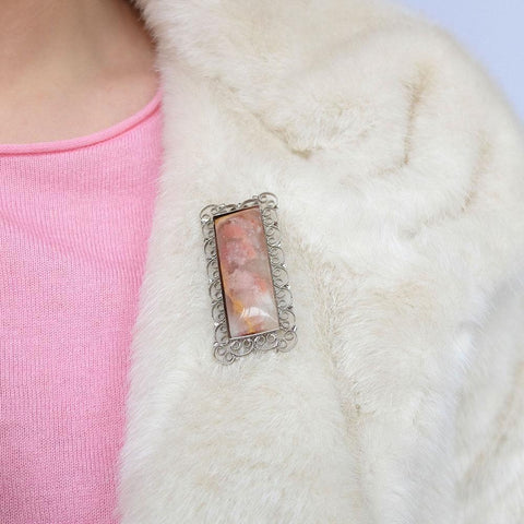 Vintage 1960's Scottish Pink Agate Brooch