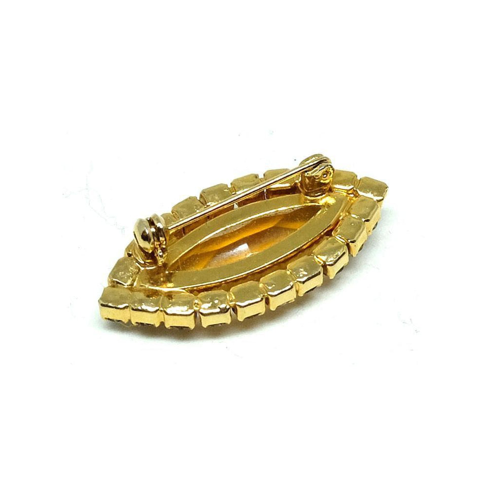 Vintage 1960s Amber Glass Diamante Brooch