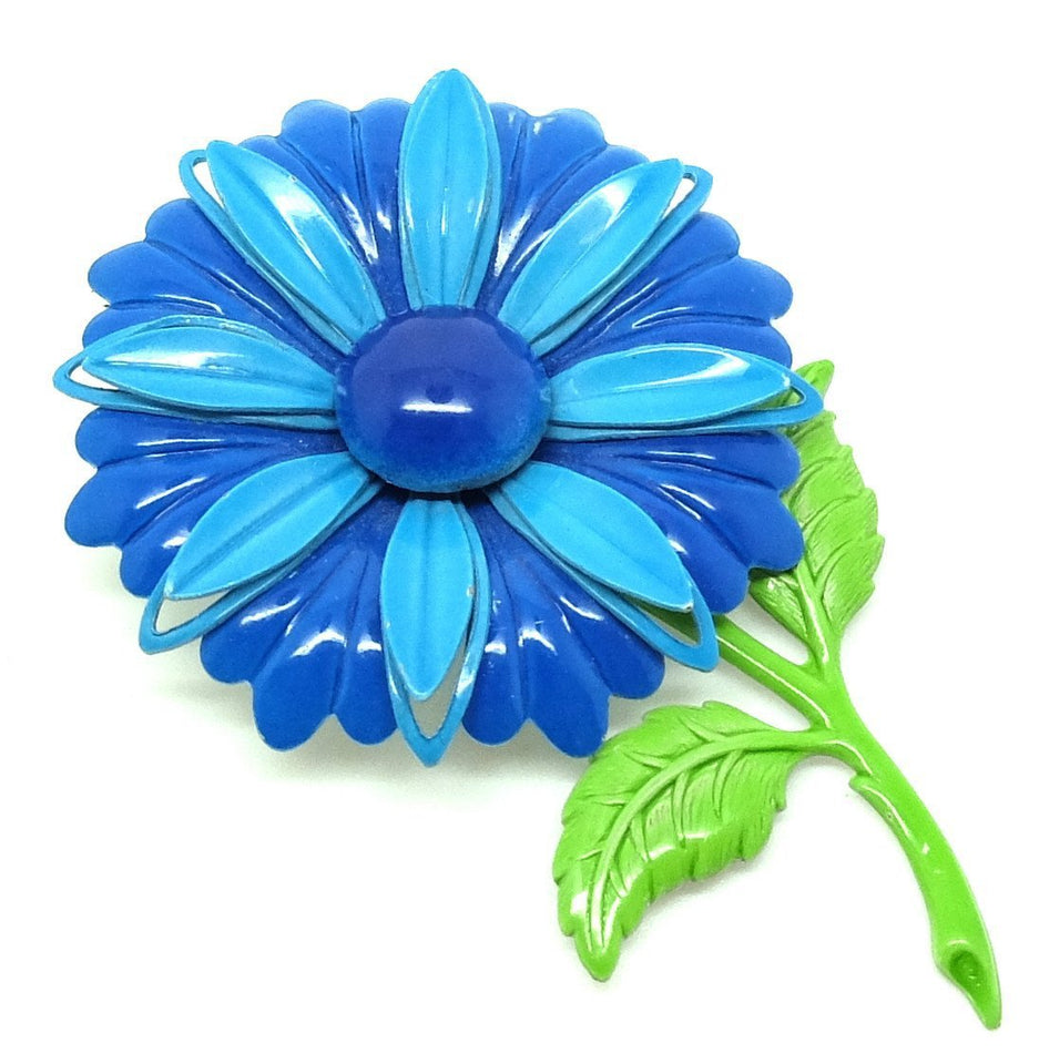 Vintage 1960s Blue Enamel Flower Brooch