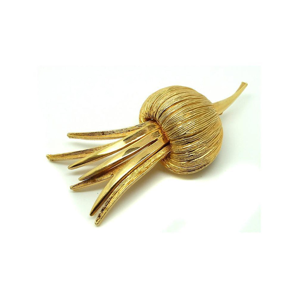Vintage 1960s Designer Corocraft Gold Flower Brooch