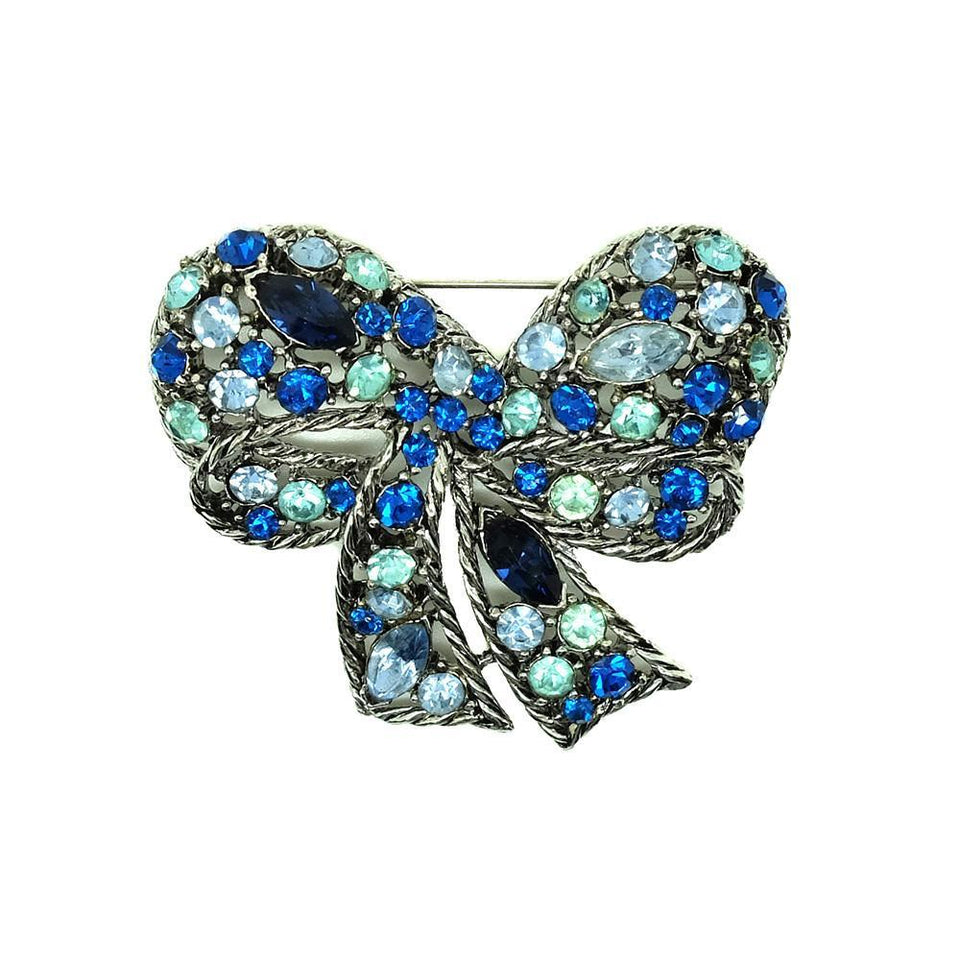 Vintage 1960s Designer Weiss Blue Glass Designer Brooch