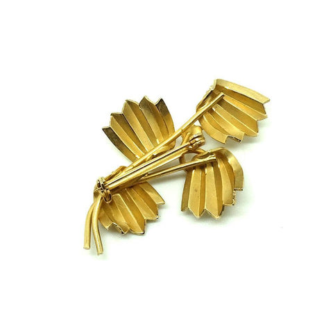 Vintage 1960s Faux Pearl Gold Tone Leaf Brooch