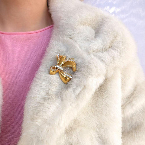 Vintage 1960s Gold & Diamante Bow Brooch