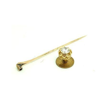 Vintage 1960s White Sapphire & 9ct Gold Tie Pin Brooch