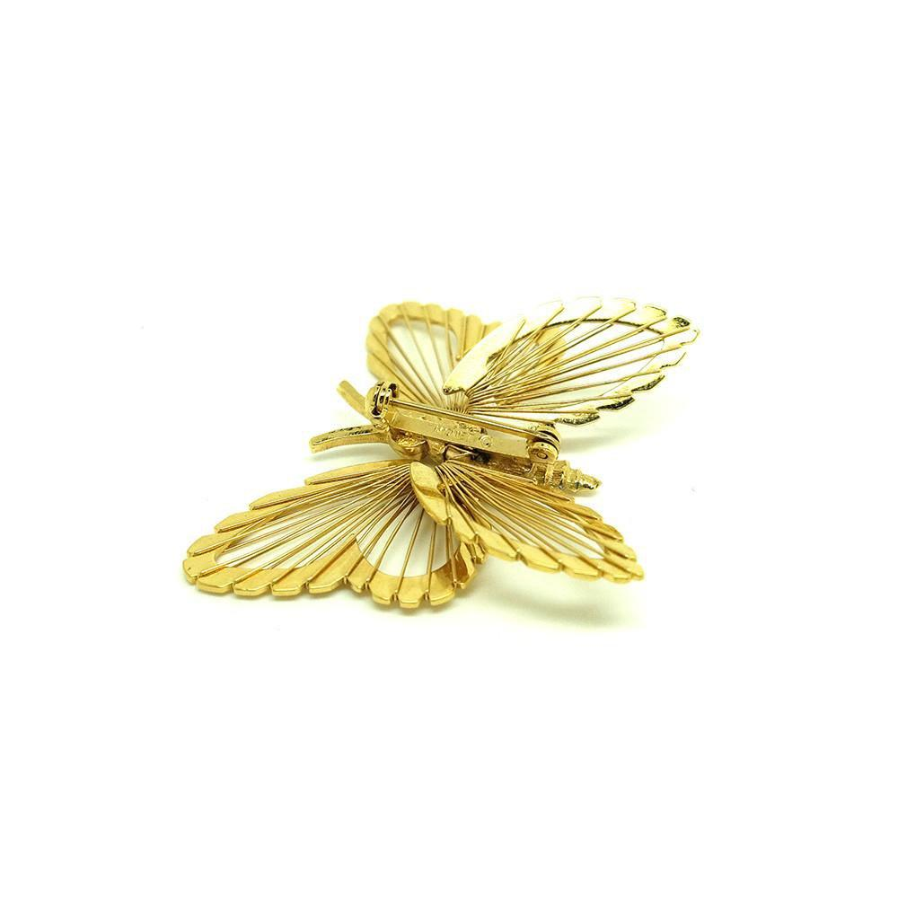 Vintage 1961 Spinneret Monet Gold Butterfly Brooch