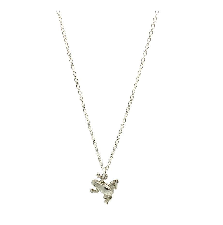1960s CHARM Vintage 1960s Silver Frog Charm Necklace