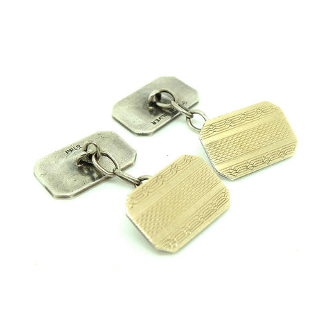 Vintage 1960s 9ct Gold Silver Cufflinks