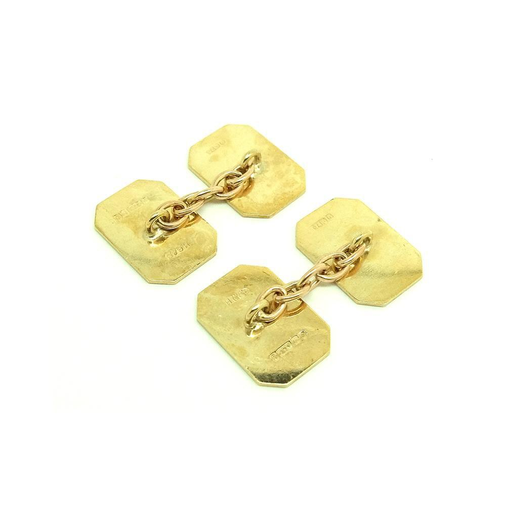 Vintage 1960s 9ct Yellow Gold Square Cufflinks