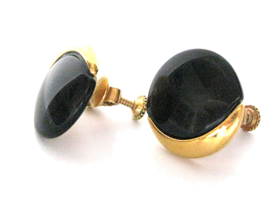 Black & Gold 1960s Napier Earrings