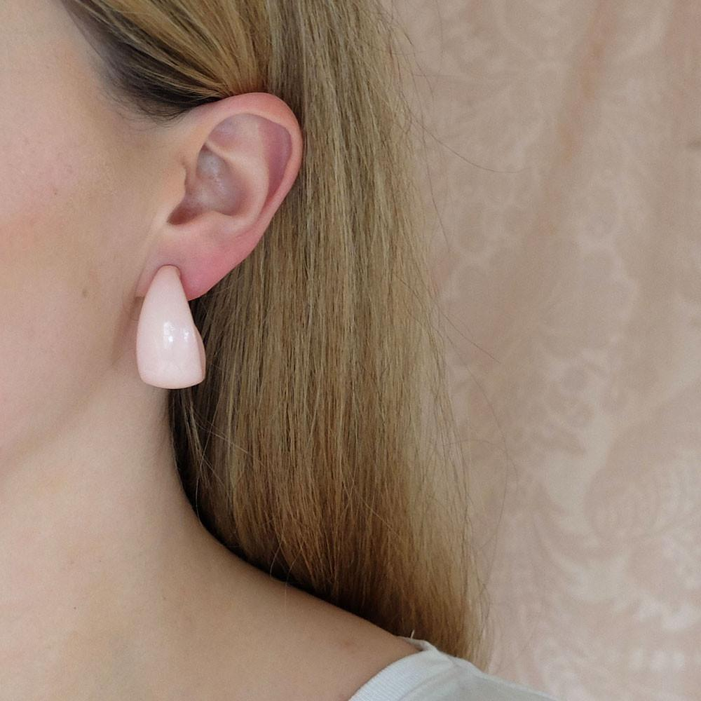 Vintage 1960's Baby Pink Hoop Earrings