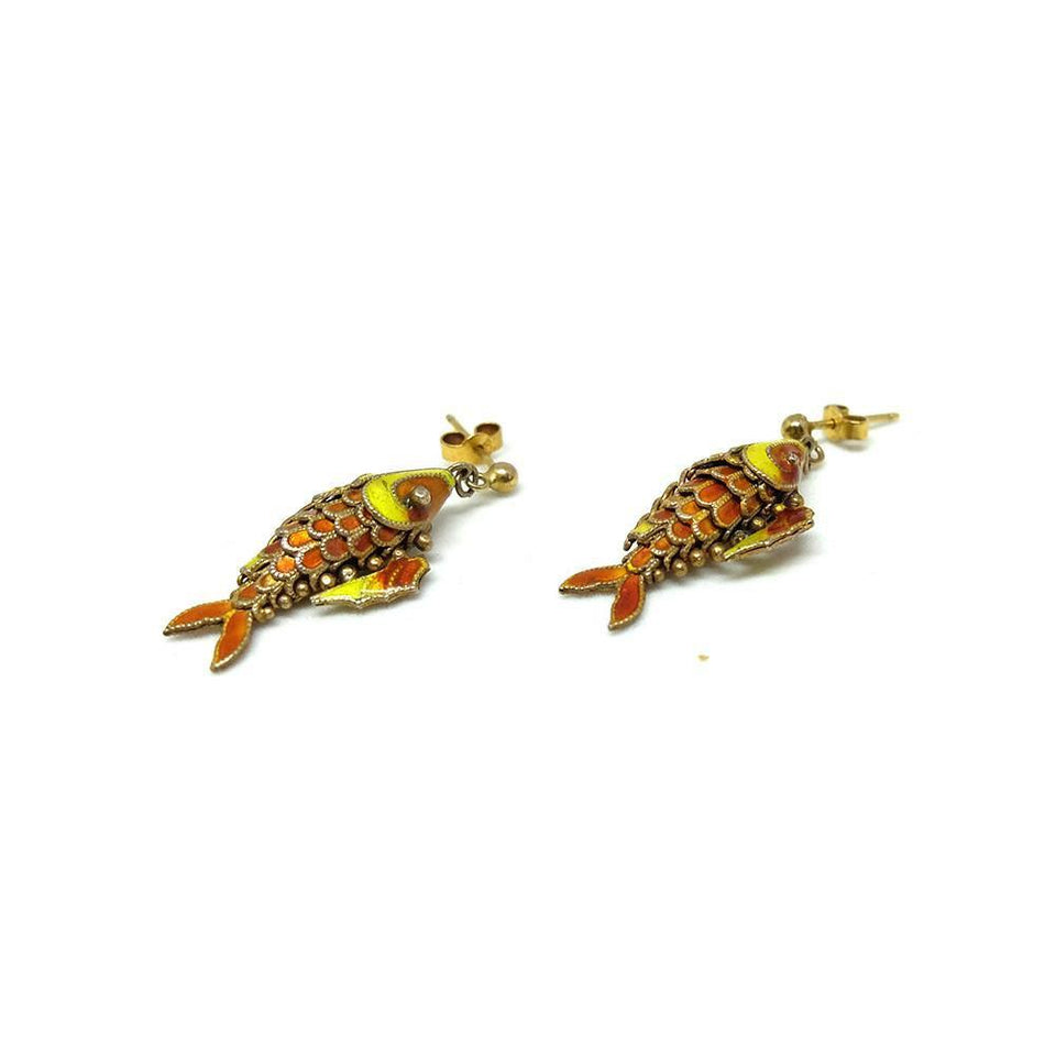 Vintage 1960's Enamel Koi Fish Earrings