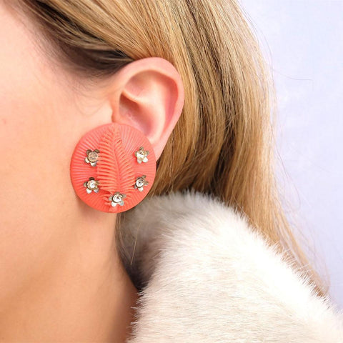 Vintage 1960's Orange Flower Disc Earrings