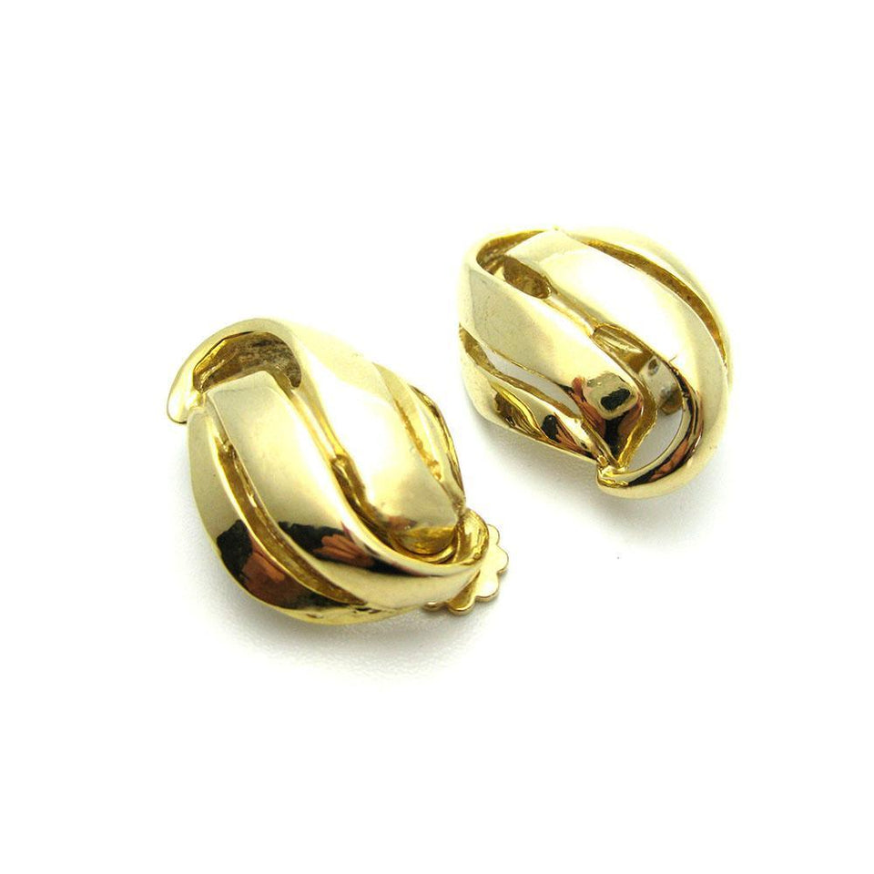 Vintage 1960s Gold Swirl Clip Earrings