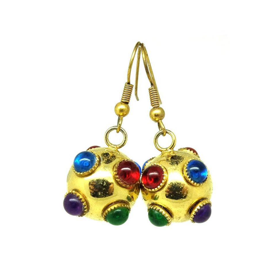 Vintage 1960s Multicoloured Ball Drop Earrings
