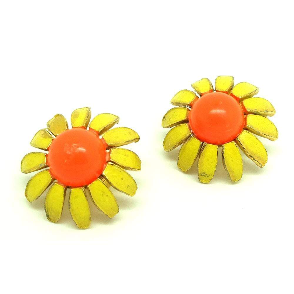 1960s Earrings Vintage 1960s Yellow Orange Flower Clip on Earrings