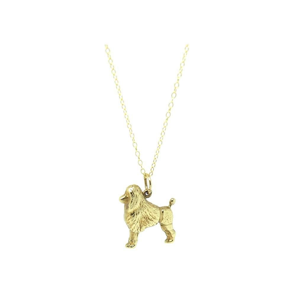 Reserved - Grace - Vintage 1960s 9ct Gold Poodle Dog Charm Necklace