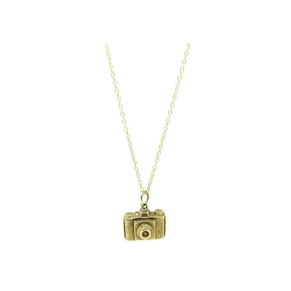 Reserved - Vintage 1960s 9ct Yellow Gold Camera Charm Necklace