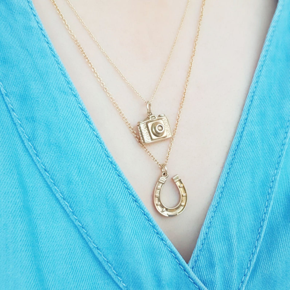 Reserved - Vintage 1964 9ct Yellow Gold Horseshoe Charm Necklace