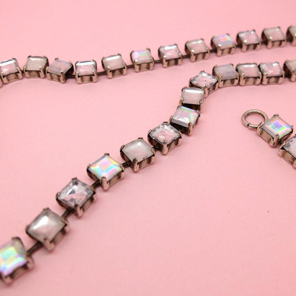 Vintage 1960's Square Cut Long Statement Necklace
