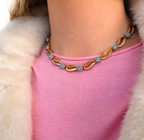 Vintage 1960's Trifari Turquoise Flower Gold Plated Choker Necklace