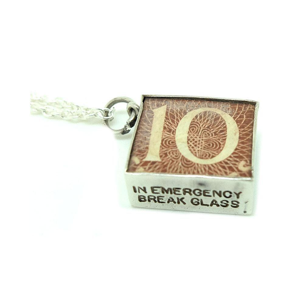 Vintage 1960s 10 Shillings Emergency Money Sterling Silver Charm Necklace