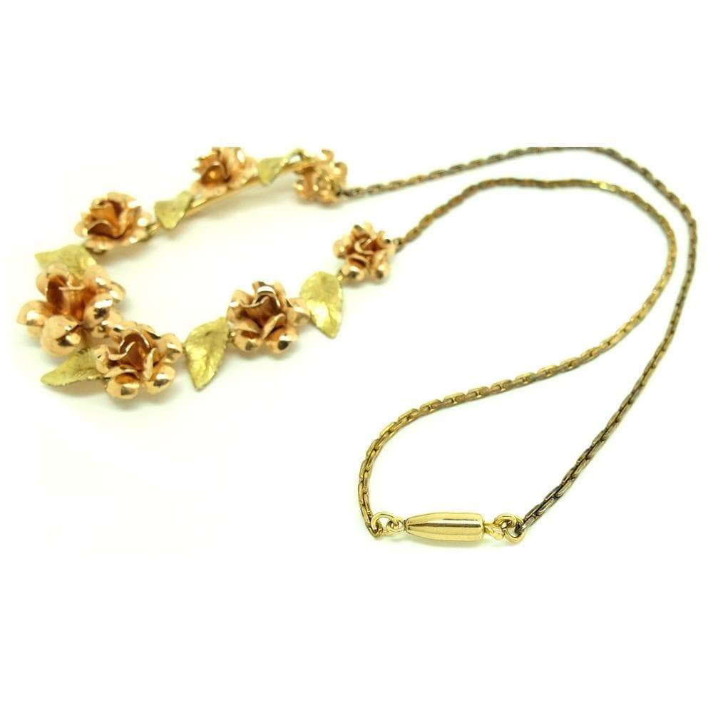 1960s Necklace Vintage 1960s 14ct Gold Plated Krementz Rose Necklace