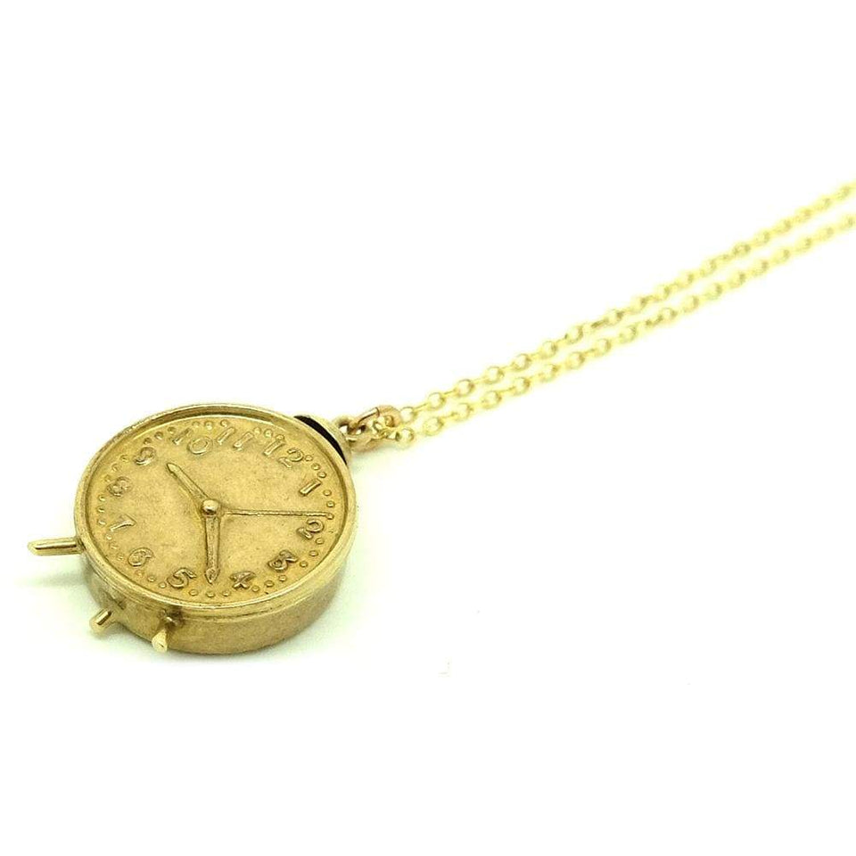 1960s Necklace Vintage 1960s 9ct Gold Clock Charm Necklace