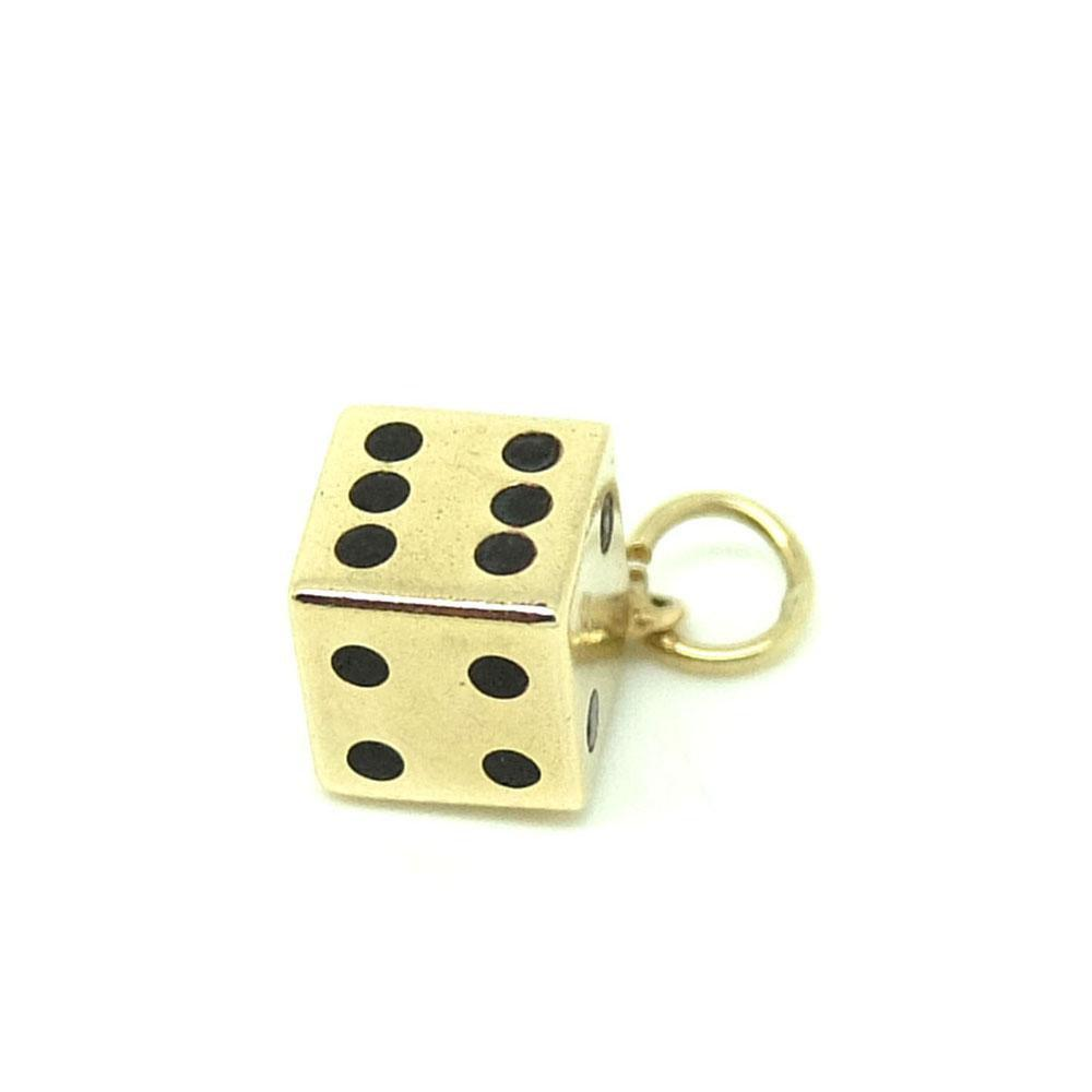Vintage 1960s 9ct Gold Dice Charm Necklace