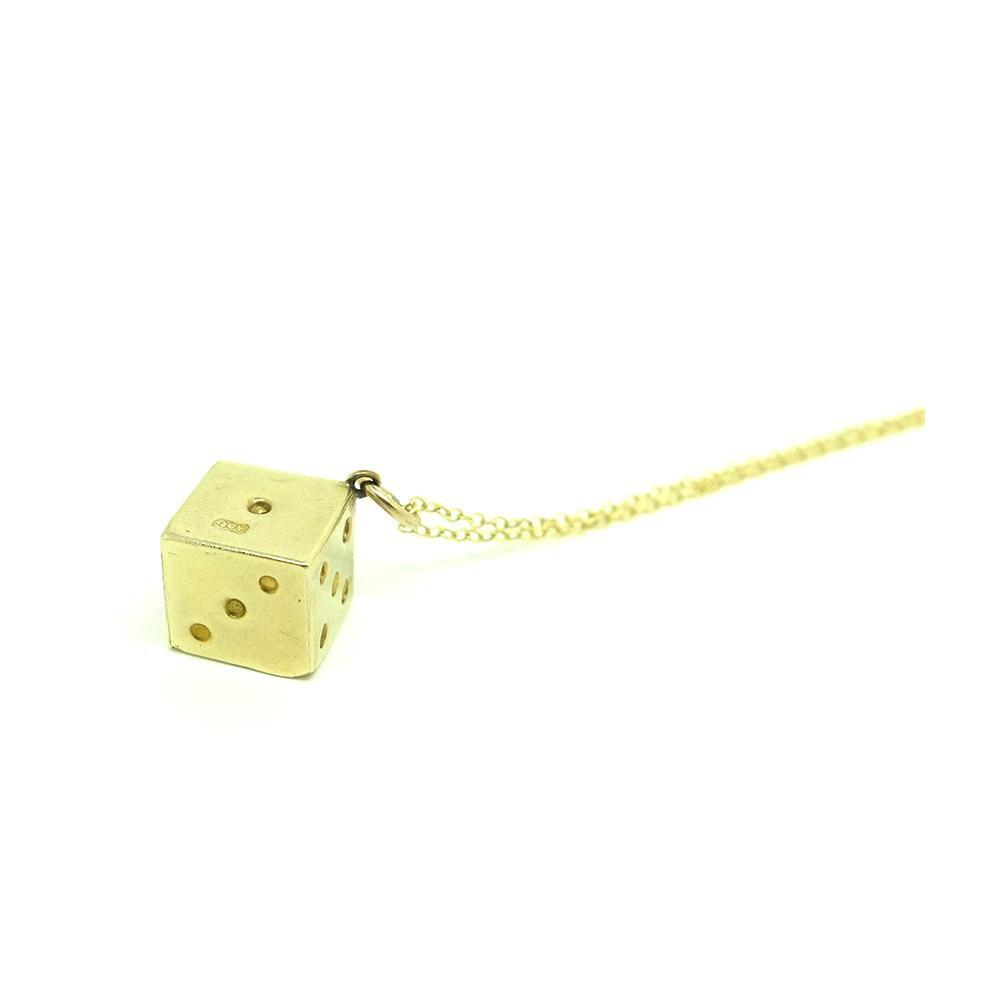 Vintage 1960s 9ct Yellow Gold Dice Charm Necklace