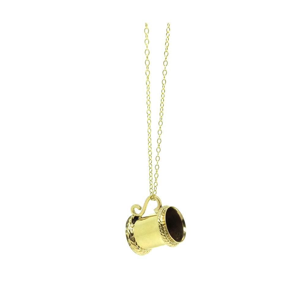 Vintage 1960s 9ct Yellow Gold Tankard Charm Necklace