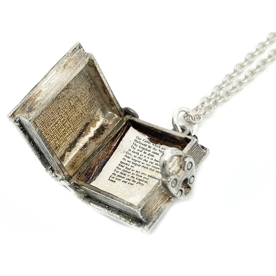 1960s Necklace Vintage 1960s Holy Bible Silver Book Charm Necklace