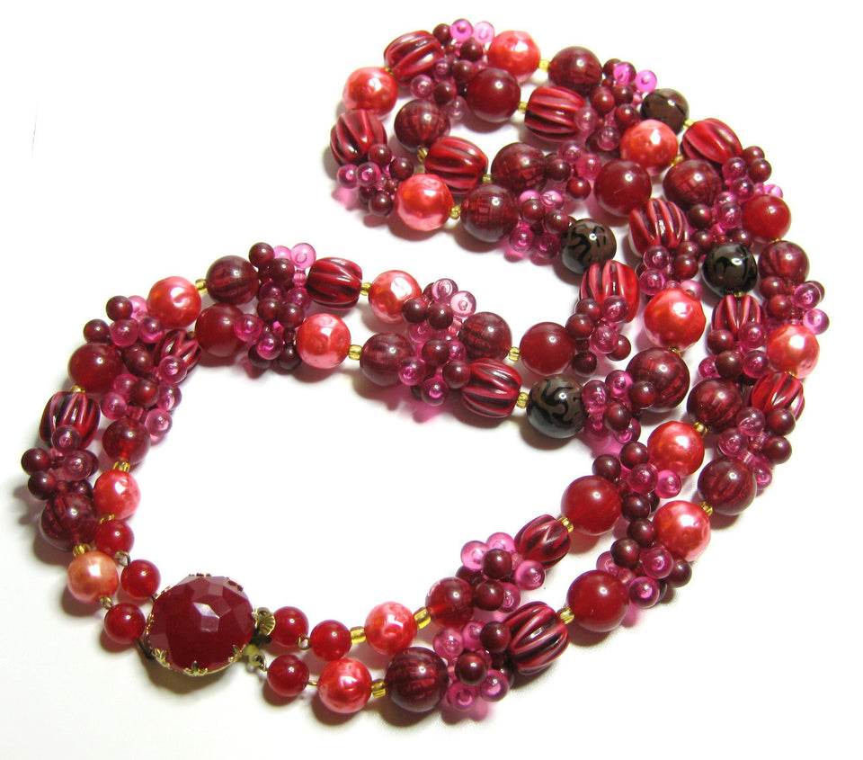 Vintage 1960s Large Red Beaded Necklace