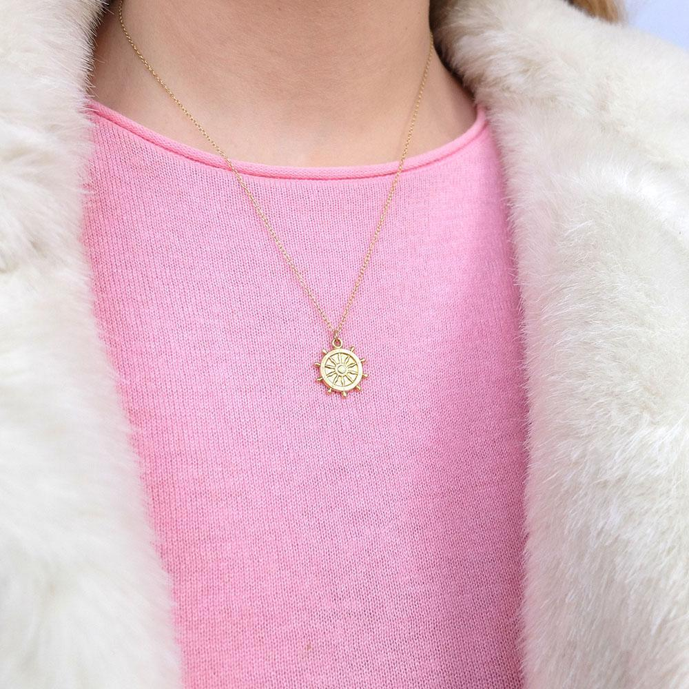 Vintage 1960s Ships Wheel Charm Necklace