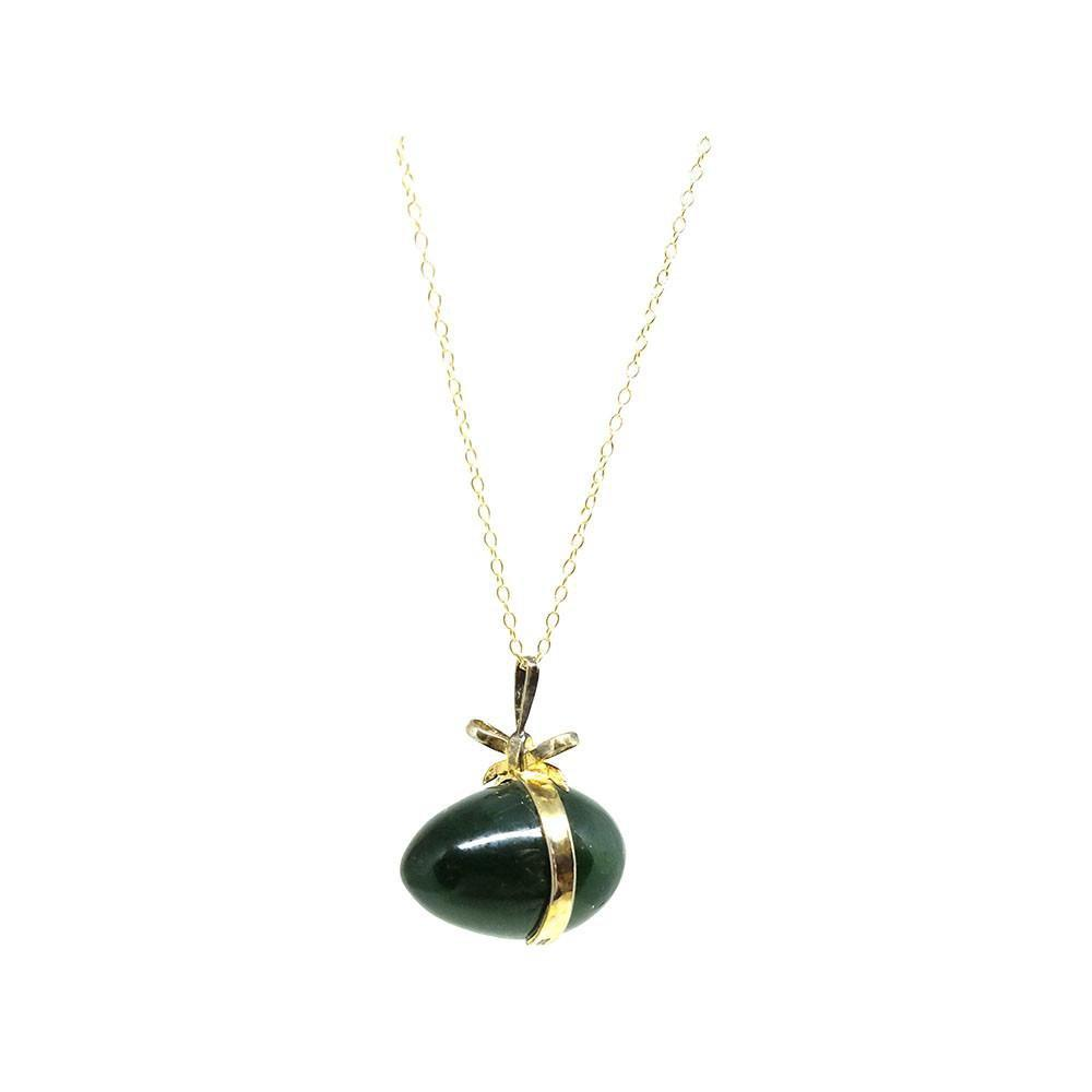 Vintage 1960s Silver Gilt Jade Bow Egg Pendant Necklace
