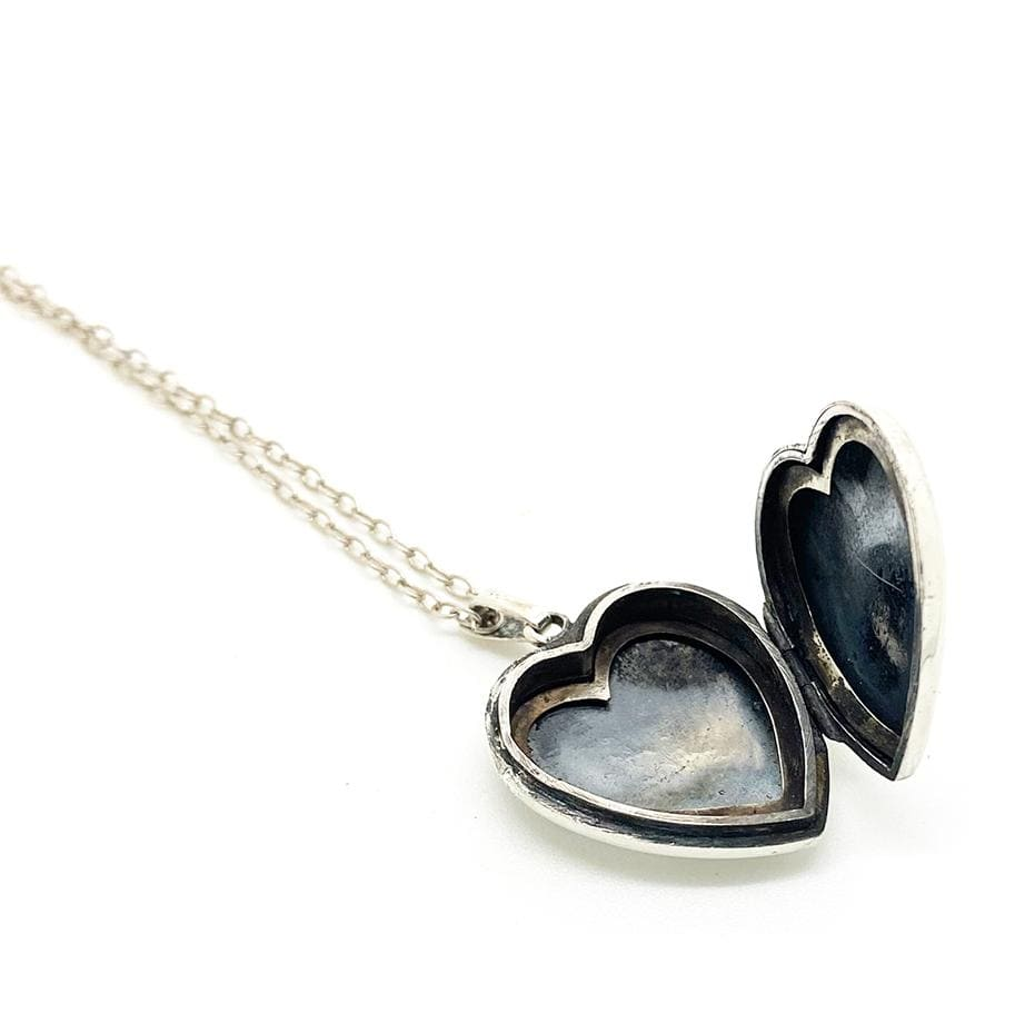1960s Necklace Vintage 1960s Silver Heart Locket Necklace