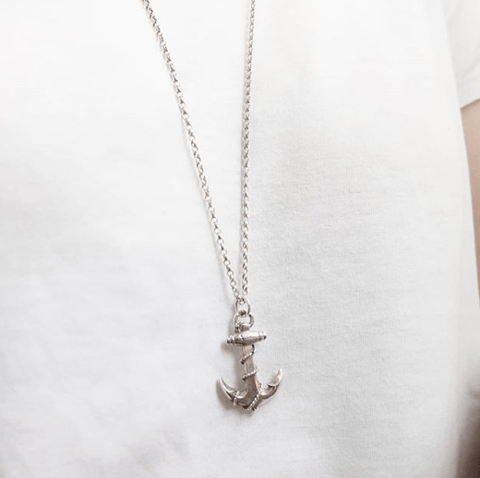Vintage 1960s Silver Rope & Anchor Necklace