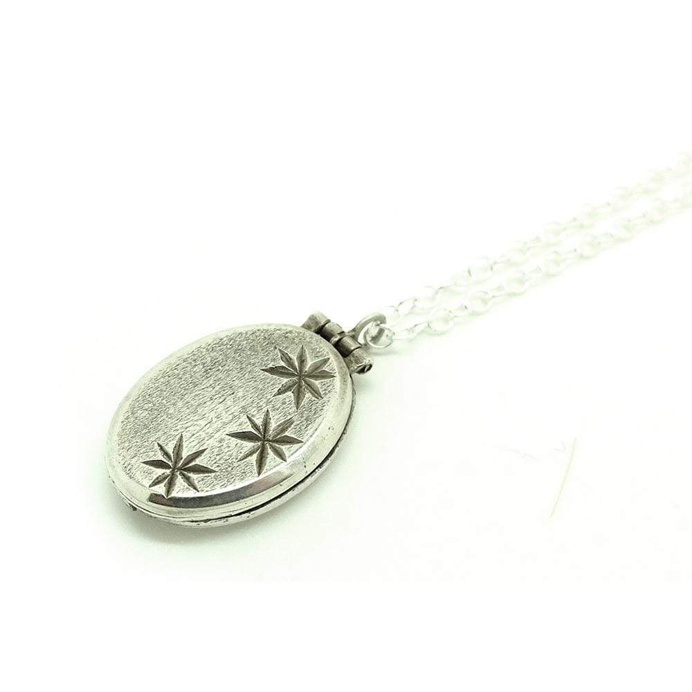 1960s Necklace Vintage 1960s Small Silver oval Star Locket Necklace